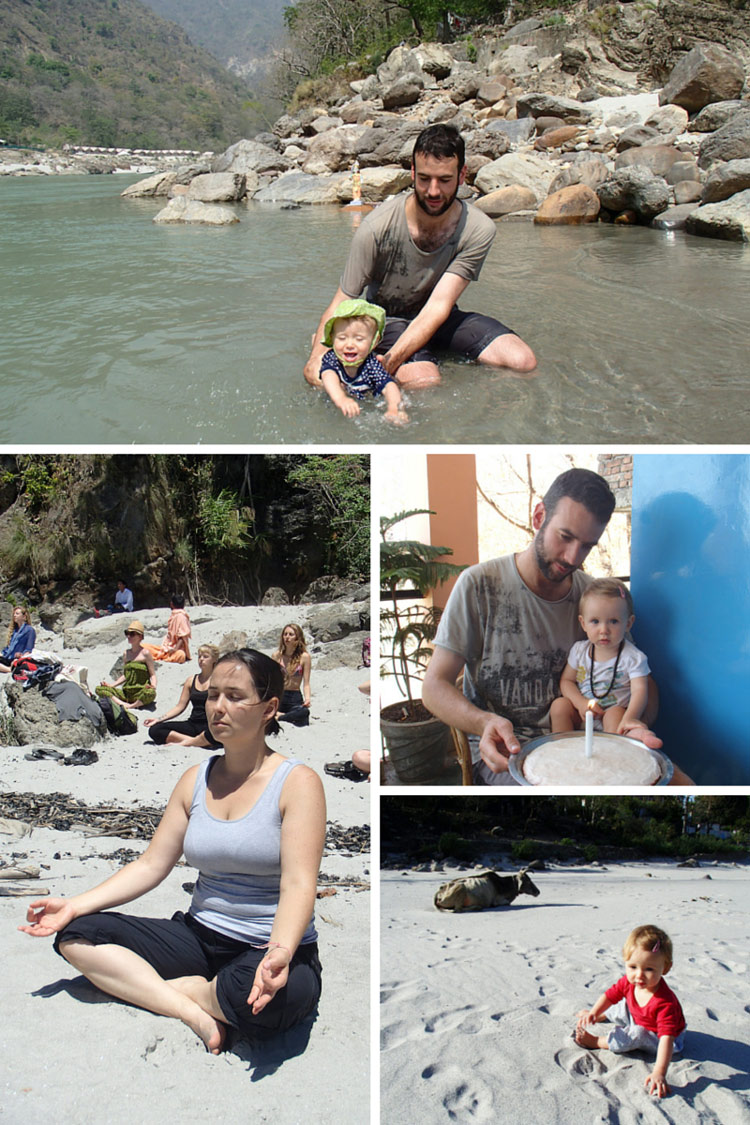 David & Nivi in the Ganges River  // Ivalu meditating on the beach // Nivis first birthday // Nivi on the beach