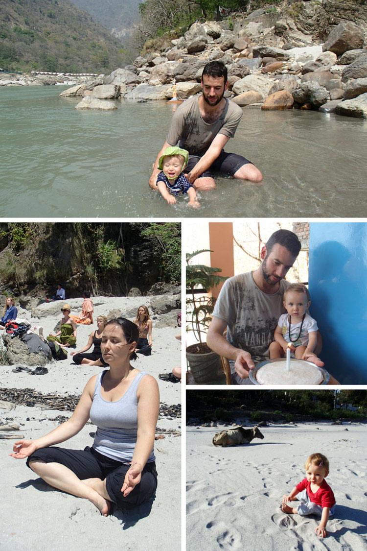 David & Nivi in the Ganges River  // Ivalu meditating on the beach // Nivis first birthday // Nivi on the beach